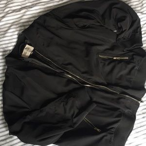 River Island Black Bomber Jacket, Gold Zippers 20